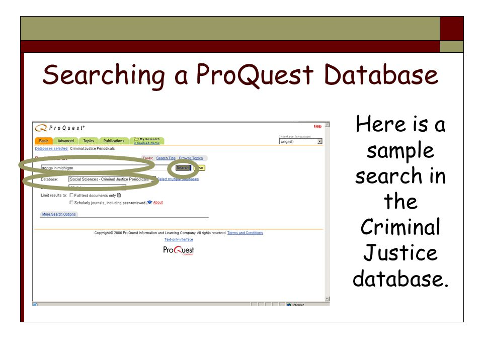 Here is a sample search in the Criminal Justice database.