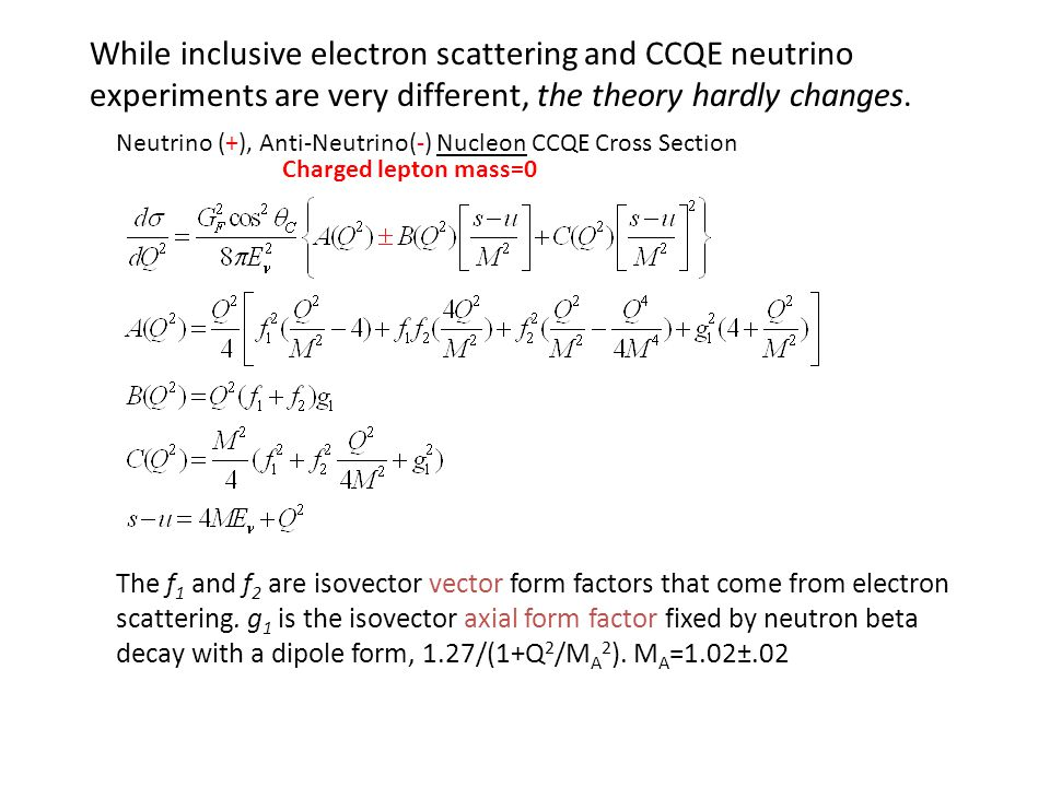 While inclusive electron scattering and CCQE neutrino experiments are very different, the theory hardly changes.