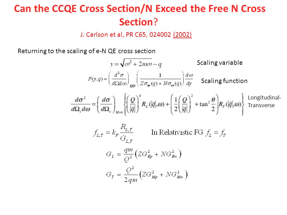 Can the CCQE Cross Section/N Exceed the Free N Cross Section.