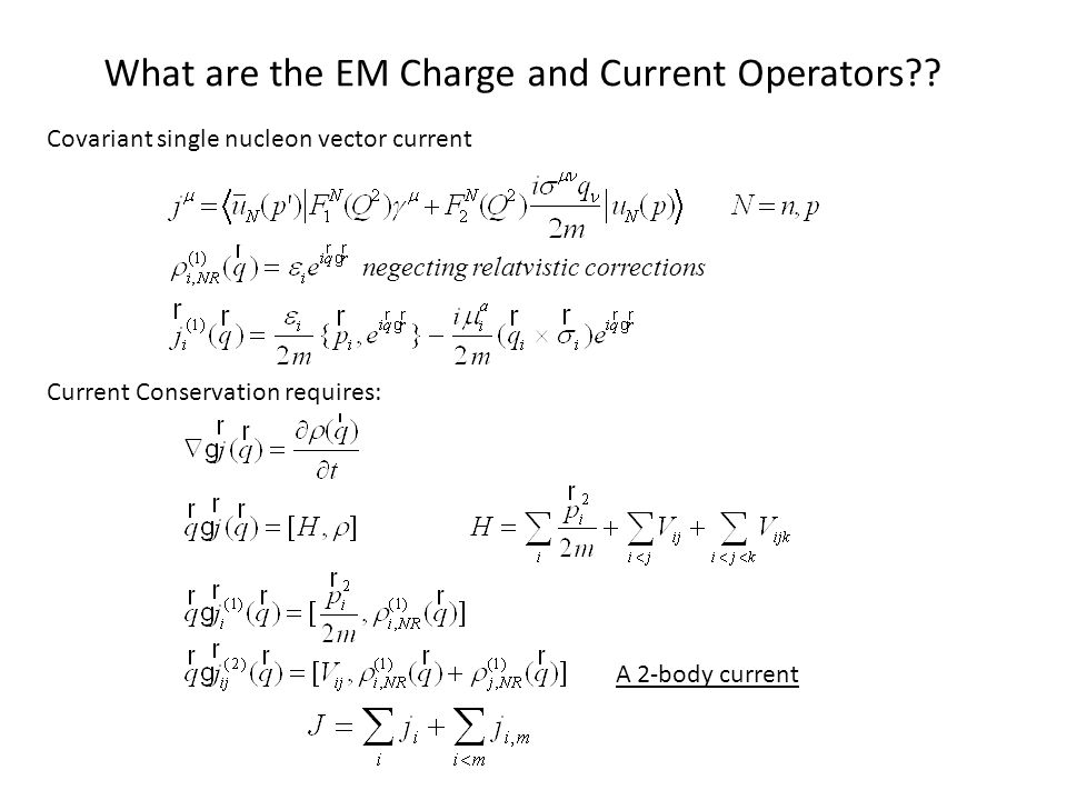 What are the EM Charge and Current Operators .