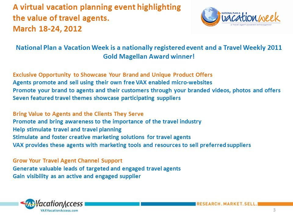 2 March 18-24, 2012 A virtual vacation planning event highlighting