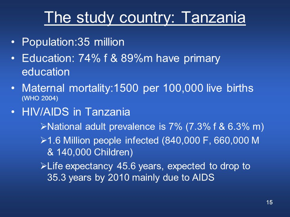 15 The study country: Tanzania Population:35 million Education: 74% f & 89%m have primary education Maternal mortality:1500 per 100,000 live births (WHO 2004) HIV/AIDS in Tanzania  National adult prevalence is 7% (7.3% f & 6.3% m)  1.6 Million people infected (840,000 F, 660,000 M & 140,000 Children)  Life expectancy 45.6 years, expected to drop to 35.3 years by 2010 mainly due to AIDS