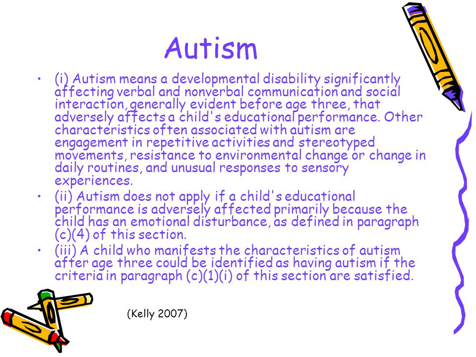 a report on autism a pervasive developmental disability In addition, local parent advocacy organizations, national autism and related developmental disability organizations, early intervention administrators, and school district special education coordinators often are knowledgeable about various programs and their respective eligibility requirements.