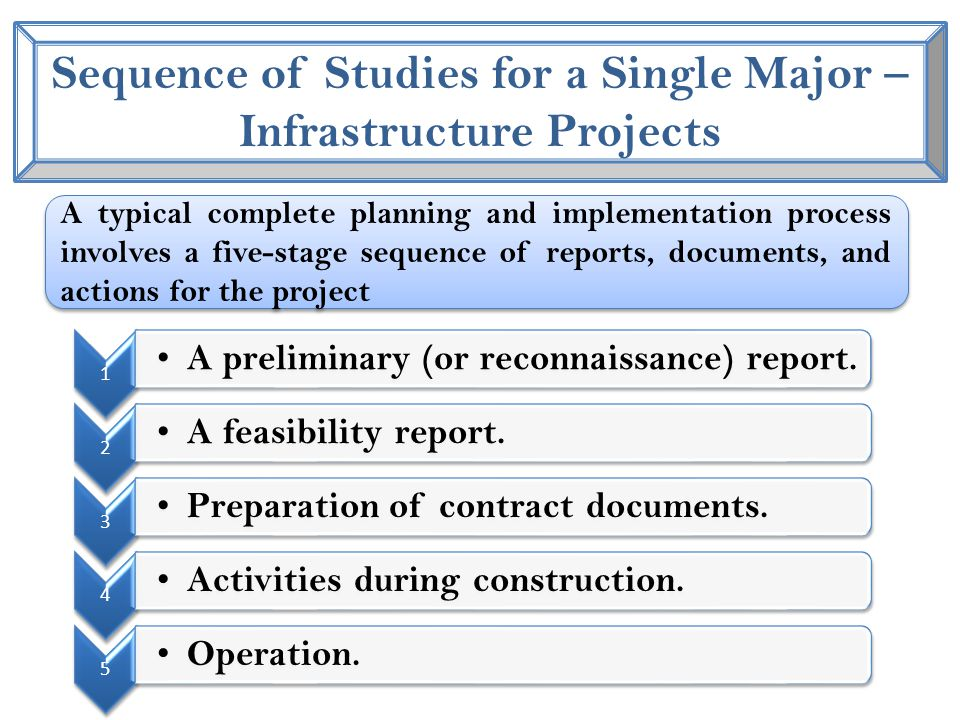 Sequence of Studies for a Single Major – Infrastructure Projects 1 A preliminary (or reconnaissance) report.