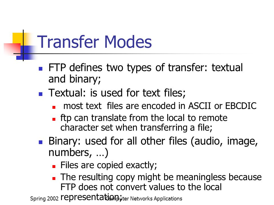 Spring 2002Computer Networks Applications Transfer Modes FTP defines two types of transfer: textual and binary; Textual: is used for text files; most text files are encoded in ASCII or EBCDIC ftp can translate from the local to remote character set when transferring a file; Binary: used for all other files (audio, image, numbers, …) Files are copied exactly; The resulting copy might be meaningless because FTP does not convert values to the local representation;