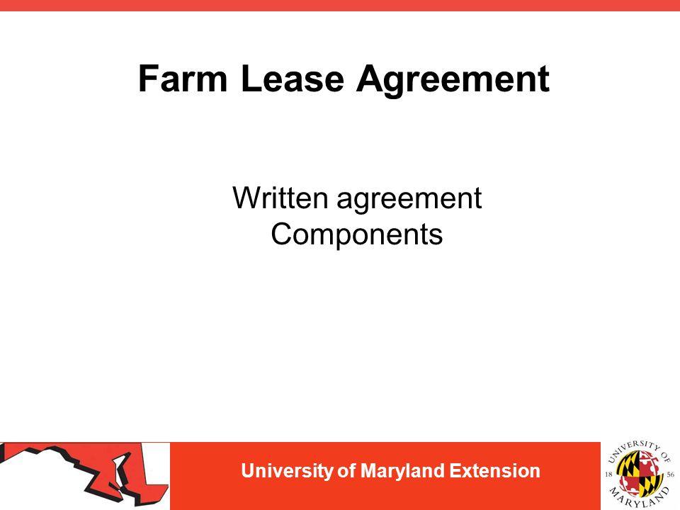 university of maryland extension farmland leasing arrangements jenny