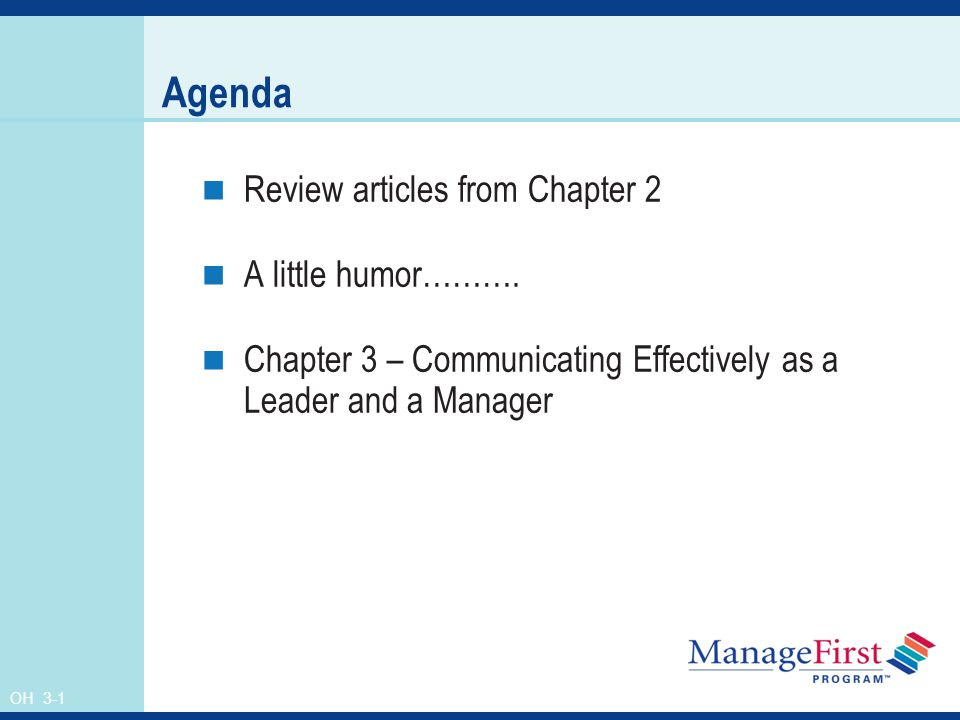 OH 3-1 Agenda Review articles from Chapter 2 A little humor……….