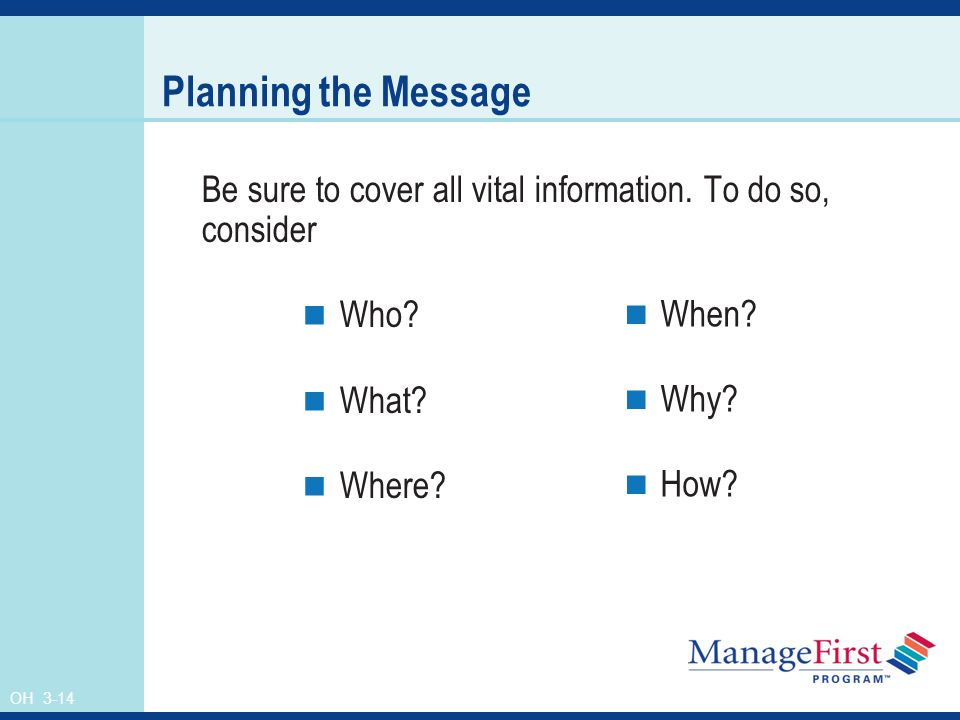 OH 3-14 Planning the Message Be sure to cover all vital information.