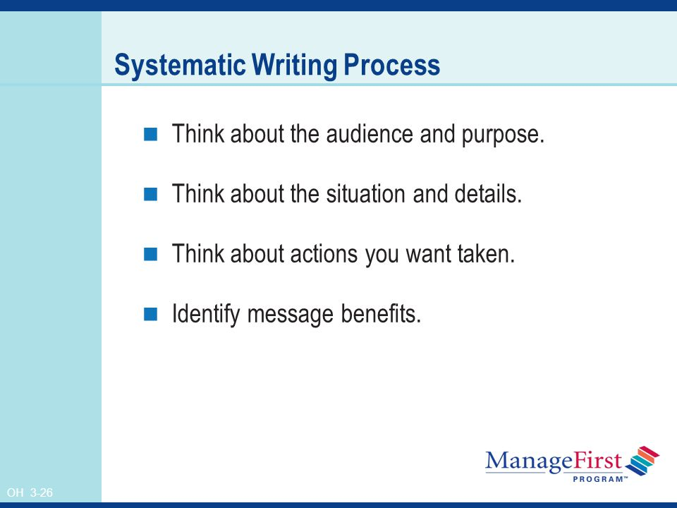 OH 3-26 Systematic Writing Process Think about the audience and purpose.