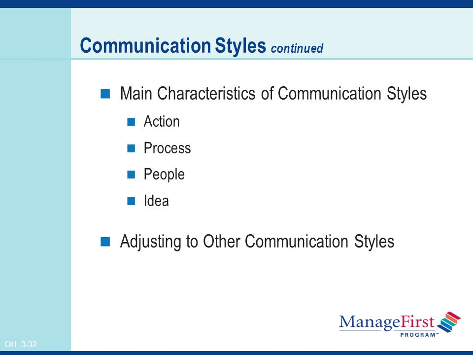 OH 3-32 Communication Styles continued Main Characteristics of Communication Styles Action Process People Idea Adjusting to Other Communication Styles