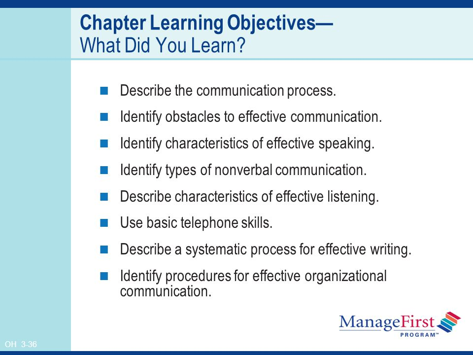 OH 3-36 Chapter Learning Objectives— What Did You Learn.