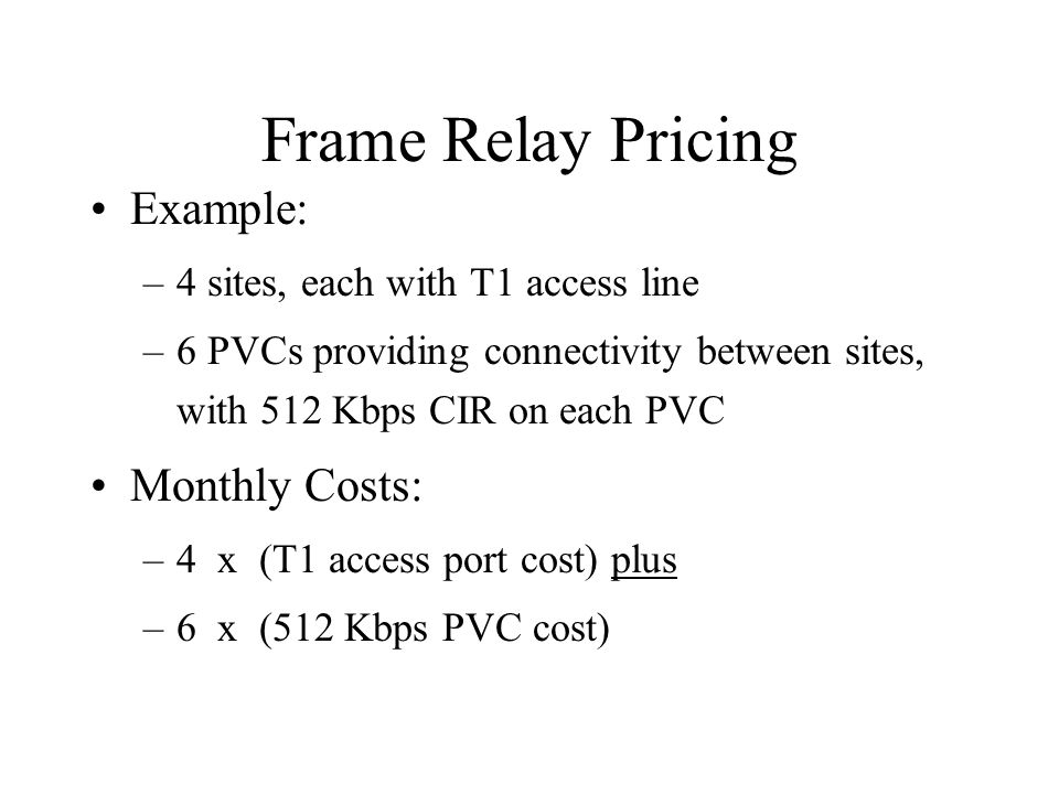 Frame Relay Pricing Example: –4 sites, each with T1 access line –6 PVCs providing connectivity between sites, with 512 Kbps CIR on each PVC Monthly Costs: –4 x (T1 access port cost) plus –6 x (512 Kbps PVC cost)