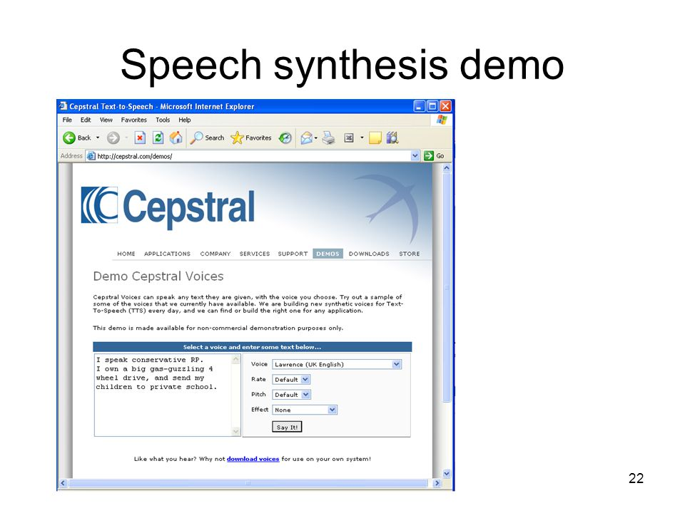 1 Speech synthesis 2 What is the task? –Generating natural sounding