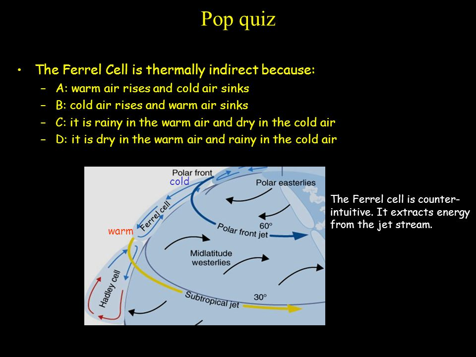 Pop quiz The Ferrel Cell is thermally indirect because: –A: warm air rises and cold air sinks –B: cold air rises and warm air sinks –C: it is rainy in the warm air and dry in the cold air –D: it is dry in the warm air and rainy in the cold air warm cold Ferrel cell The Ferrel cell is counter- intuitive.