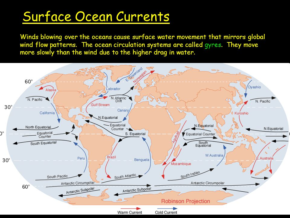 Surface Ocean Currents Winds blowing over the oceans cause surface water movement that mirrors global wind flow patterns.