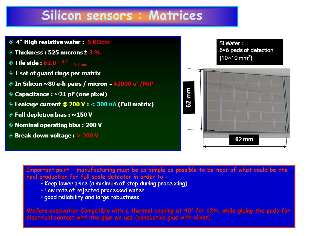 62 mm Si Wafer : 6×6 pads of detection (10×10 mm 2 )‏ Important point : manufacturing must be as simple as possible to be near of what could be the real production for full scale detector in order to : Keep lower price (a minimum of step during processing) ‏ Low rate of rejected processed wafer good reliability and large robustness Wafers passivation Compatible with a thermal cooking at 40° for 12H, while gluing the pads for electrical contact with the glue we use (conductive glue with silver).