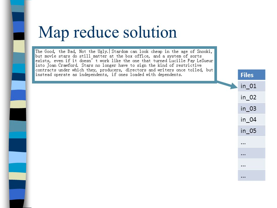 Map reduce solution Files in_01 in_02 in_03 in_04 in_05...
