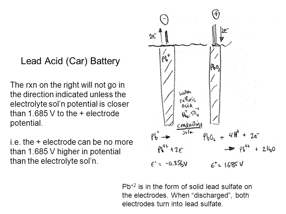 Lead Acid (Car) Battery The rxn on the right will not go in the direction indicated unless the electrolyte sol'n potential is closer than V to the + electrode potential.