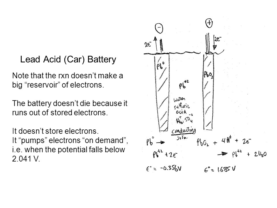 Lead Acid (Car) Battery Note that the rxn doesn't make a big reservoir of electrons.