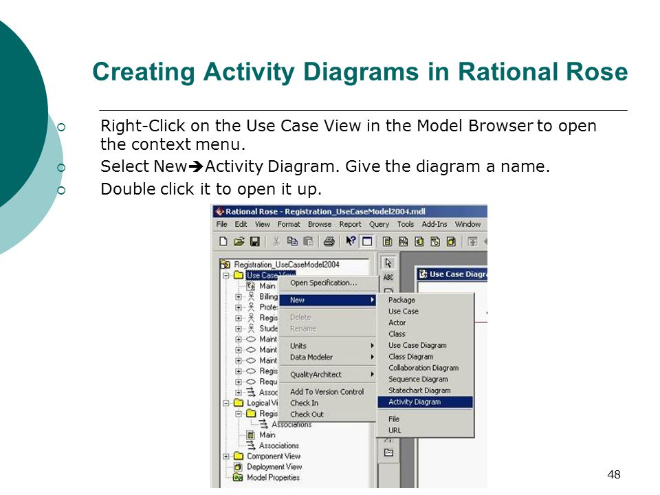 Rational rose 2 rose rational object oriented software 48 creating activity diagrams in rational rose right click on the use case view ccuart Image collections