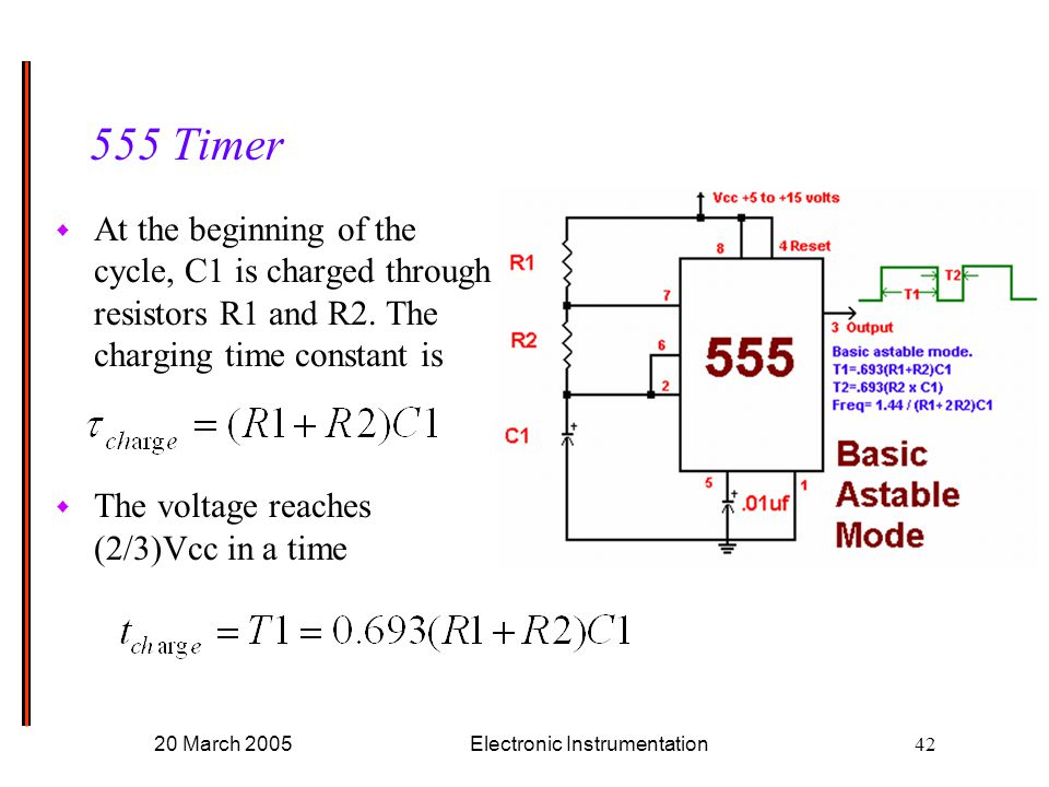 20 March 2005Electronic Instrumentation Timer w At the beginning of the cycle, C1 is charged through resistors R1 and R2.