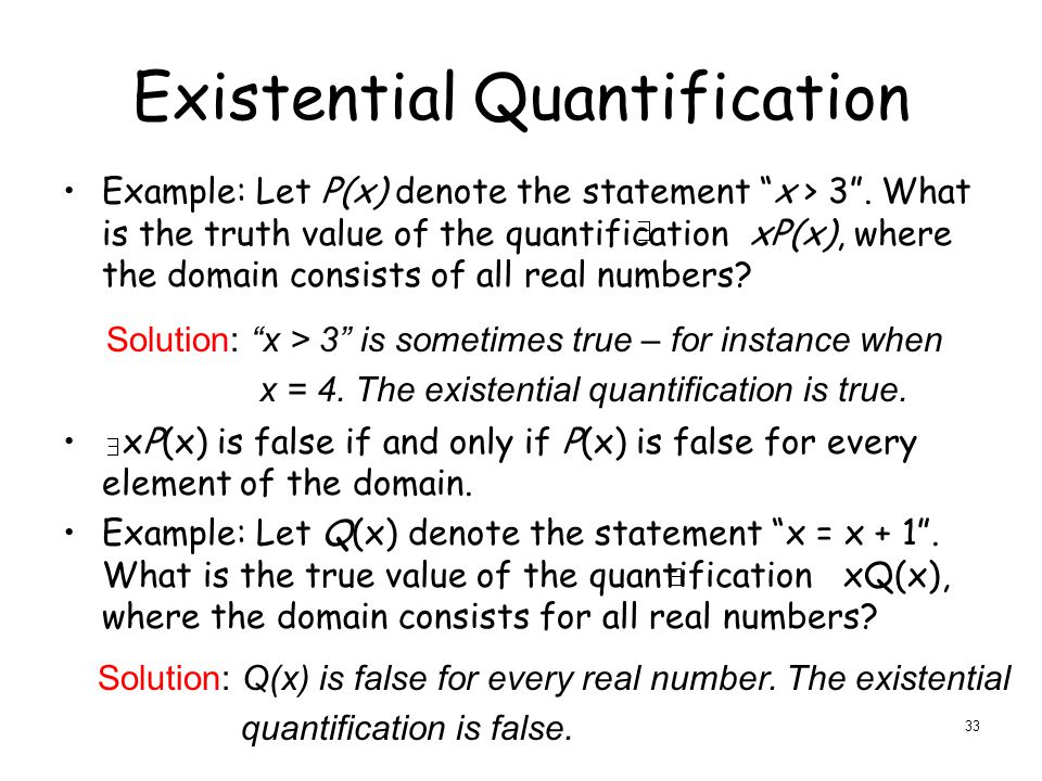 Existential Quantification Example: Let P(x) denote the statement x > 3 .