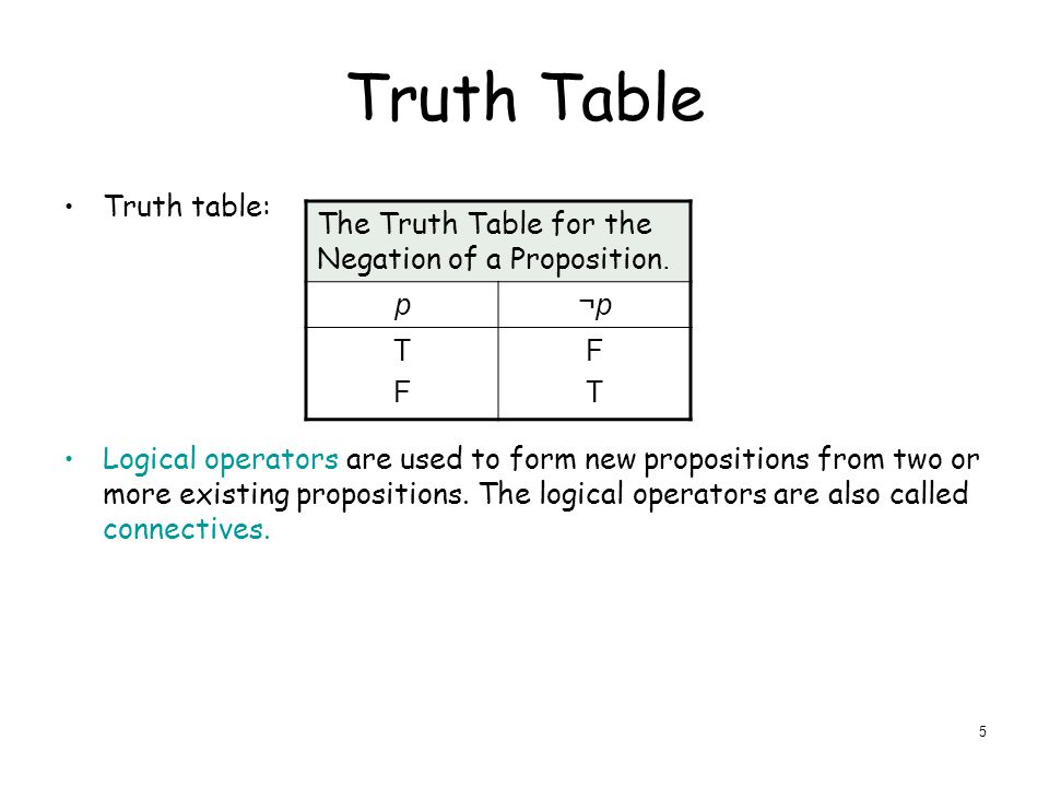 Truth Table Truth table: Logical operators are used to form new propositions from two or more existing propositions.