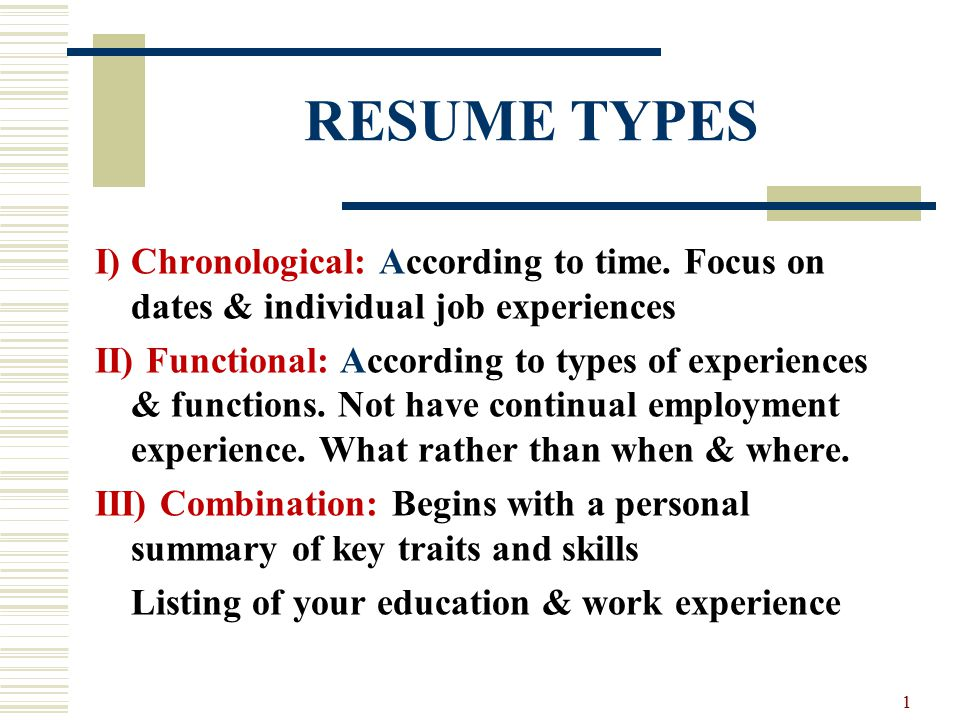 resume types i chronological according to time focus on dates