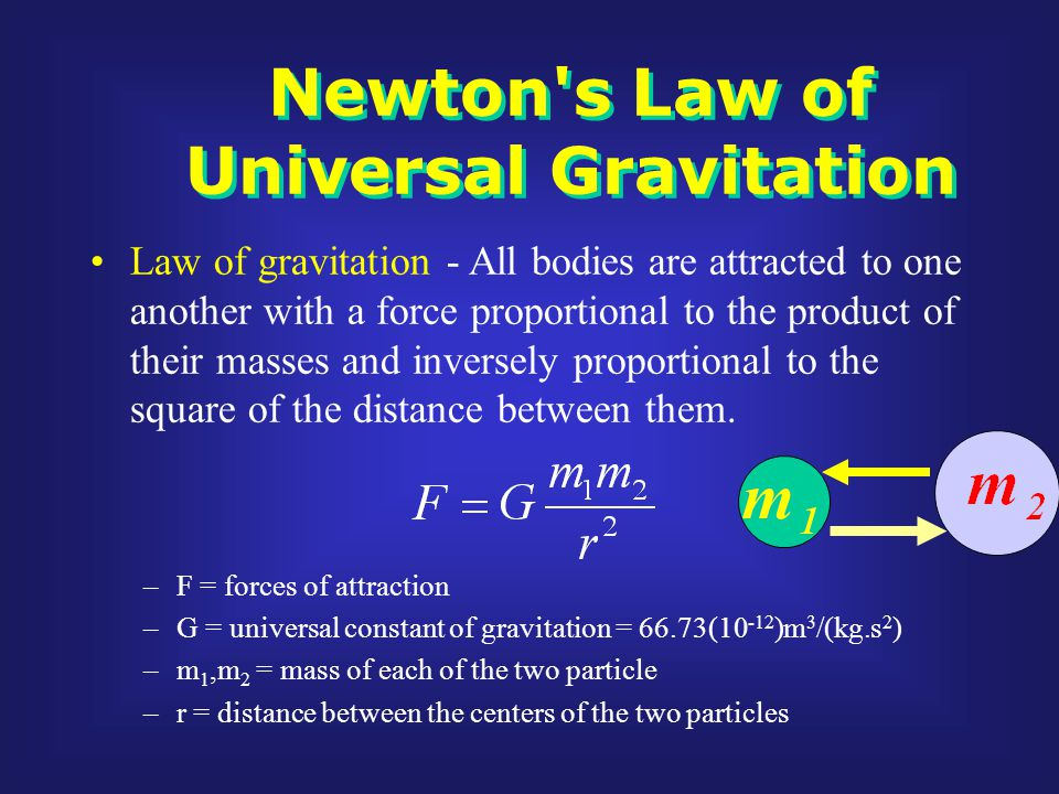 Newton s Law of Universal Gravitation Law of gravitation - All bodies are attracted to one another with a force proportional to the product of their masses and inversely proportional to the square of the distance between them.