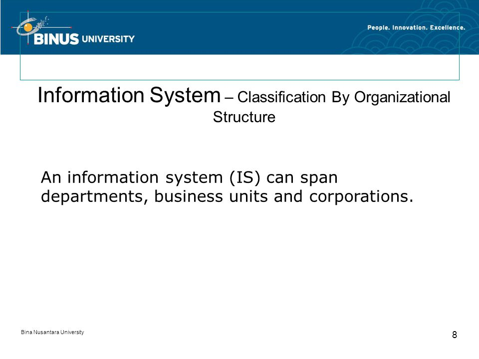 Bina Nusantara University 8 Information System – Classification By Organizational Structure An information system (IS) can span departments, business units and corporations.