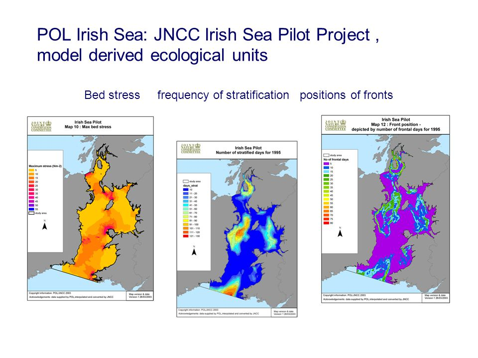 POL Irish Sea: JNCC Irish Sea Pilot Project, model derived ecological units Bed stress frequency of stratification positions of fronts