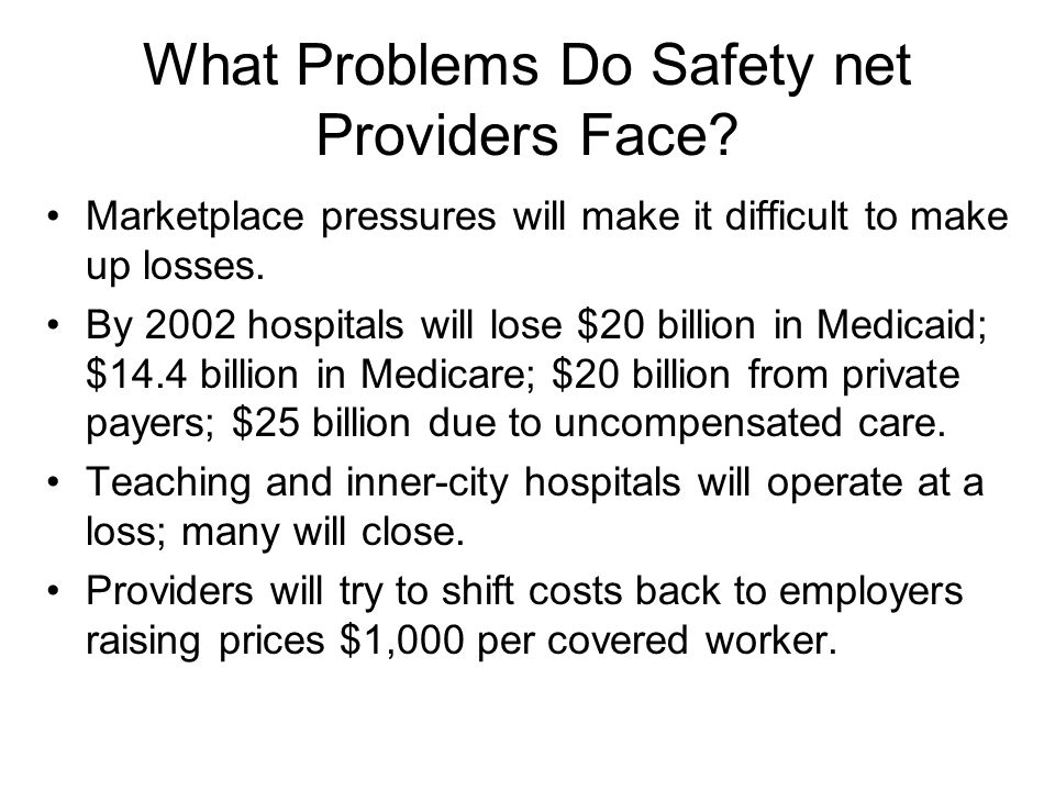 What Problems Do Safety net Providers Face.