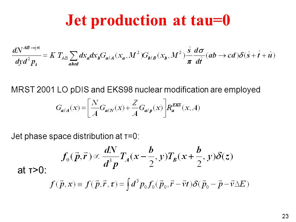 23 Jet production at tau=0 MRST 2001 LO pDIS and EKS98 nuclear modification are employed Jet phase space distribution at τ=0: at τ>0: