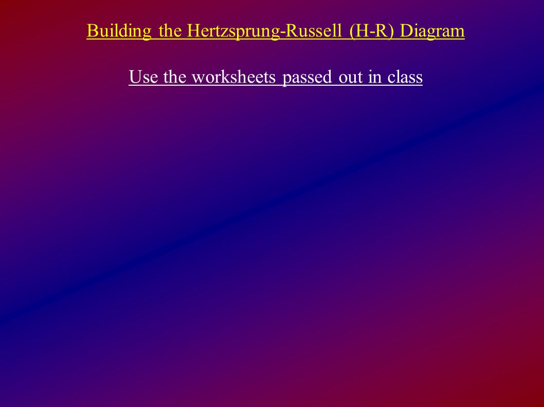 Building The Hertzsprung Russell H R Diagram Use The Worksheets