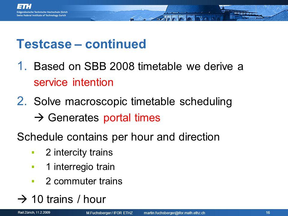 Rail Zürich, Train scheduling based on speed profiles © ETH Zürich
