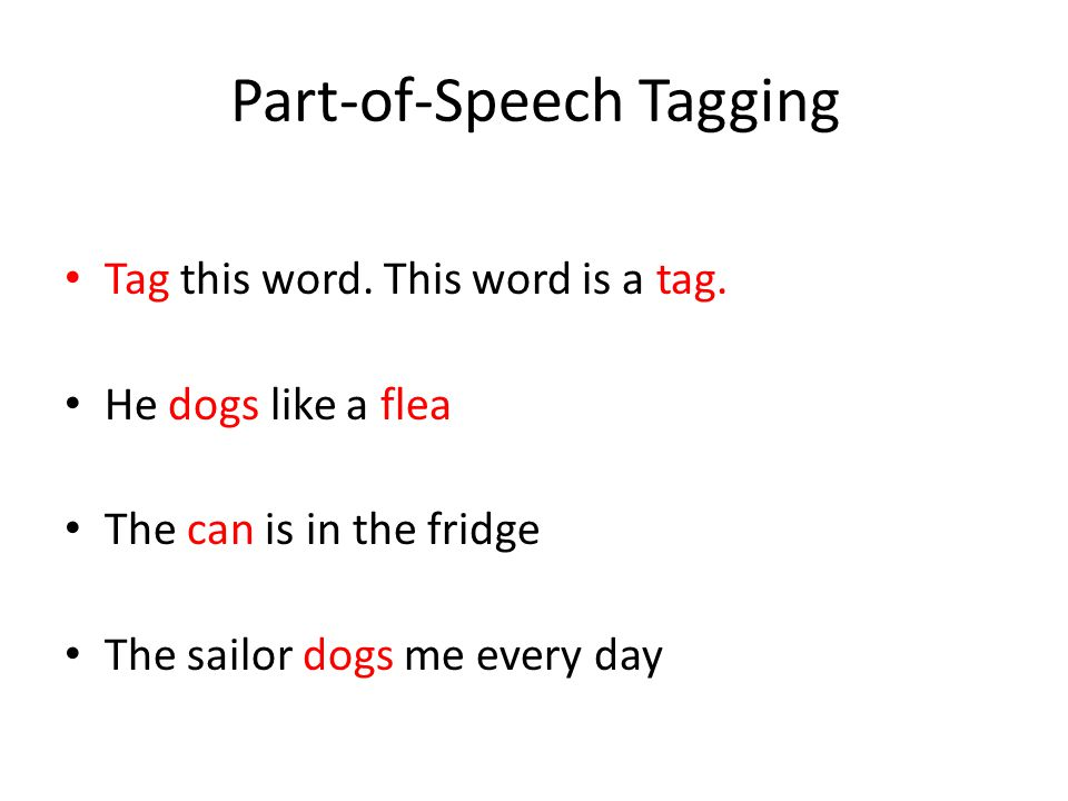 Part-of-Speech Tagging Tag this word. This word is a tag.