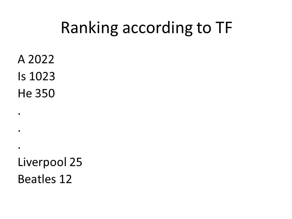 Ranking according to TF A 2022 Is 1023 He 350. Liverpool 25 Beatles 12