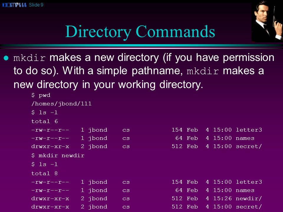 Slide 9 Directory Commands mkdir makes a new directory (if you have permission to do so).