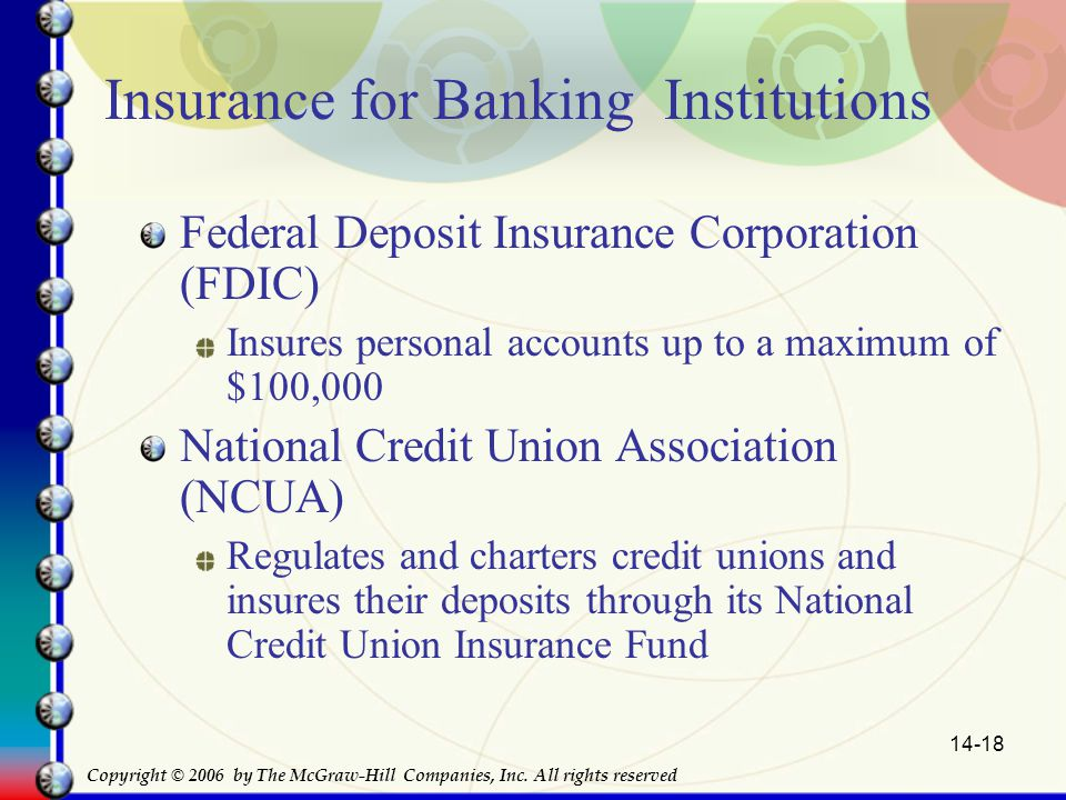 14-18 Insurance for Banking Institutions Federal Deposit Insurance Corporation (FDIC) Insures personal accounts up to a maximum of $100,000 National Credit Union Association (NCUA) Regulates and charters credit unions and insures their deposits through its National Credit Union Insurance Fund Copyright © 2006 by The McGraw-Hill Companies, Inc.
