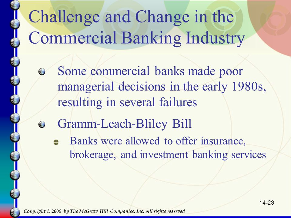 14-23 Challenge and Change in the Commercial Banking Industry Some commercial banks made poor managerial decisions in the early 1980s, resulting in several failures Gramm-Leach-Bliley Bill Banks were allowed to offer insurance, brokerage, and investment banking services Copyright © 2006 by The McGraw-Hill Companies, Inc.