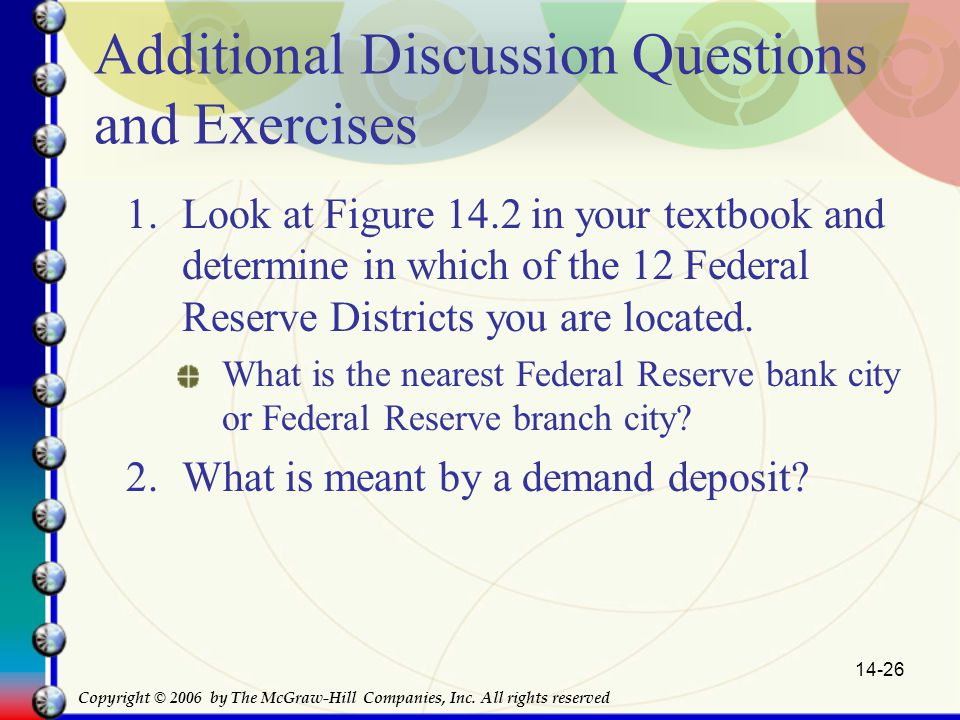 14-26 Additional Discussion Questions and Exercises 1.Look at Figure 14.2 in your textbook and determine in which of the 12 Federal Reserve Districts you are located.
