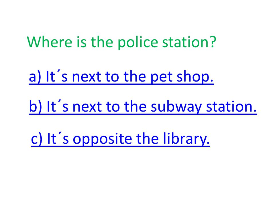 Library Shopping mall School Swimining pool Car park Subway station Pet shop Police station