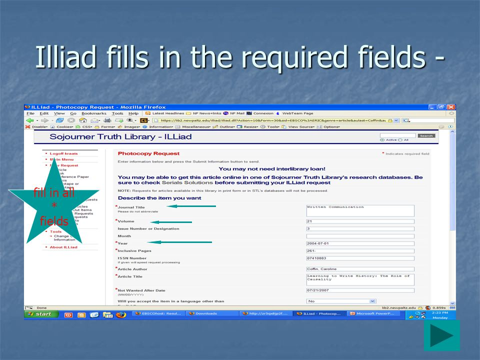 Illiad fills in the required fields - fill in all * fields