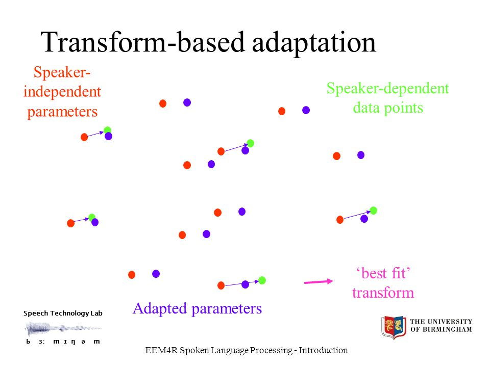 Speech Technology Lab Ƅ ɜ: m ɪ ŋ ǝ m EEM4R Spoken Language Processing - Introduction Transform-based adaptation Speaker- independent parameters Speaker-dependent data points 'best fit' transform Adapted parameters