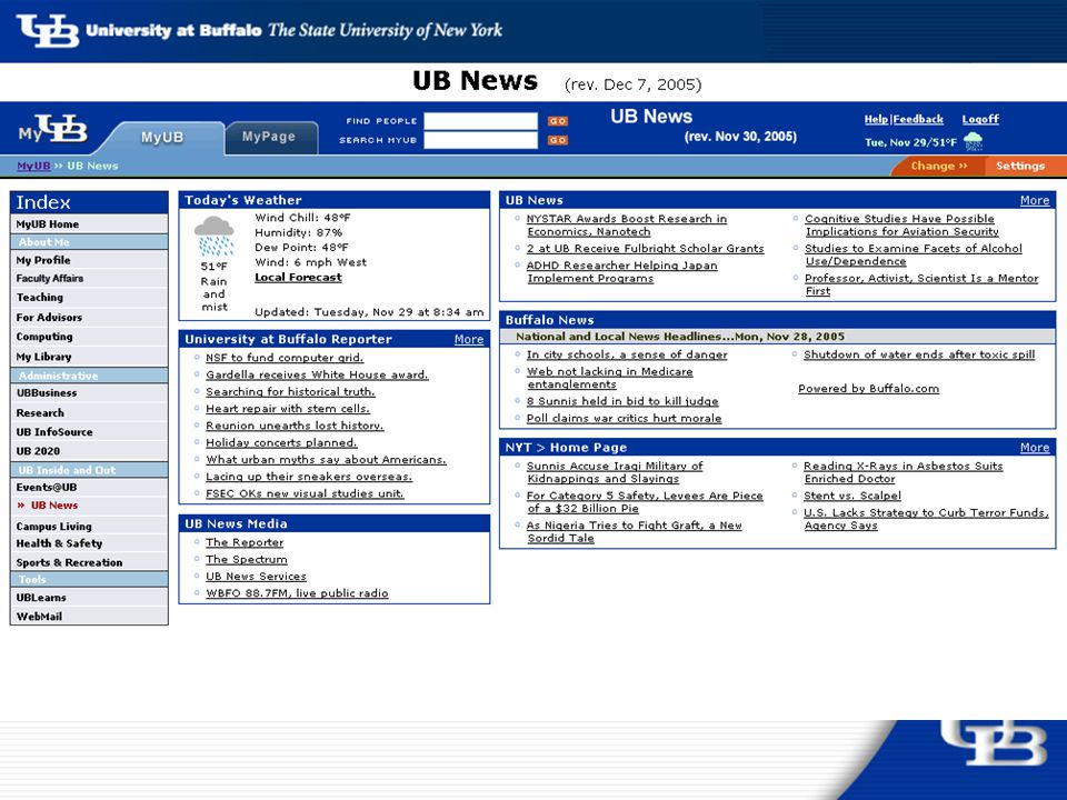 Streamlining MyUB for Faculty: Content and interface