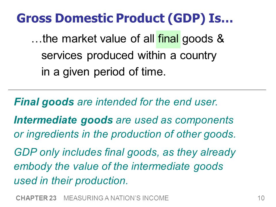 10 CHAPTER 23 MEASURING A NATION'S INCOME …the market value of all final goods & services produced within a country in a given period of time.