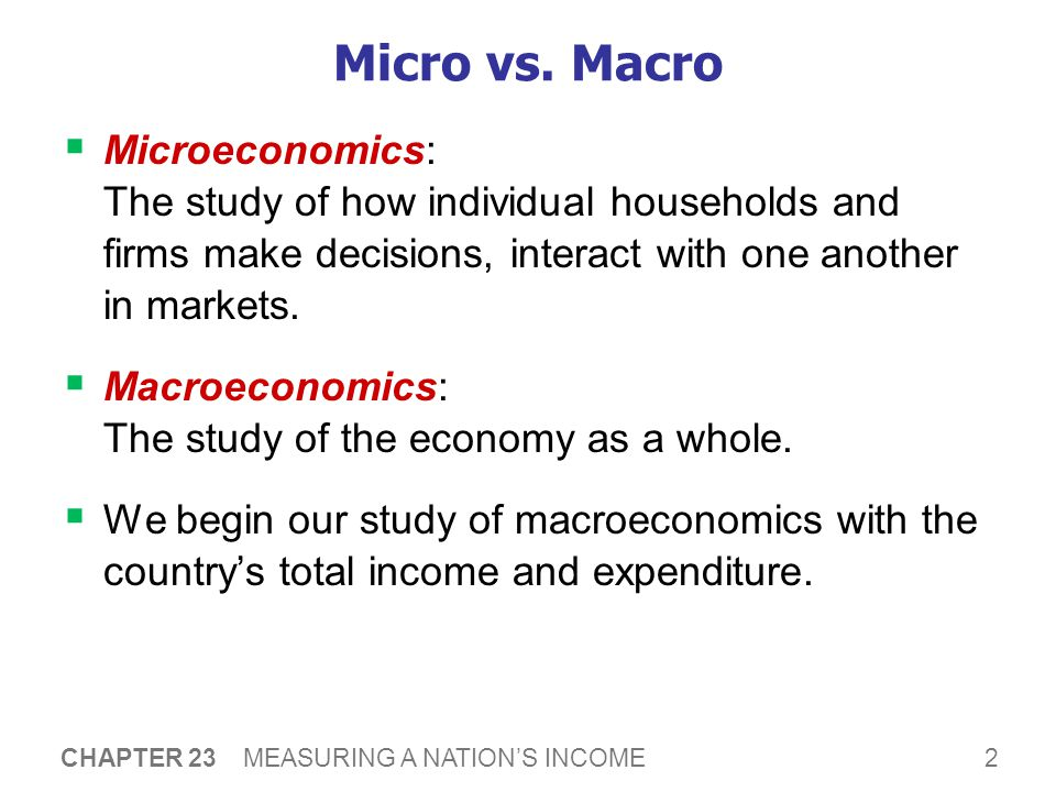 2 CHAPTER 23 MEASURING A NATION'S INCOME Micro vs.