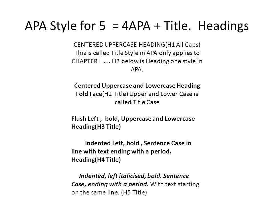 apa style for 5 4apa title headings centered uppercase heading