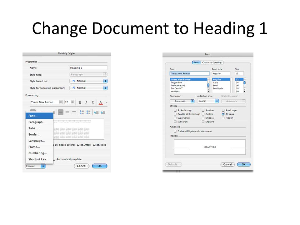 Change Document to Heading 1