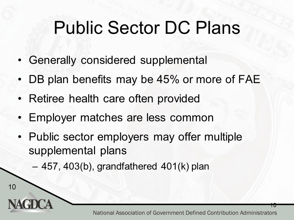 10 Public Sector DC Plans Generally considered supplemental DB plan benefits may be 45% or more of FAE Retiree health care often provided Employer matches are less common Public sector employers may offer multiple supplemental plans –457, 403(b), grandfathered 401(k) plan